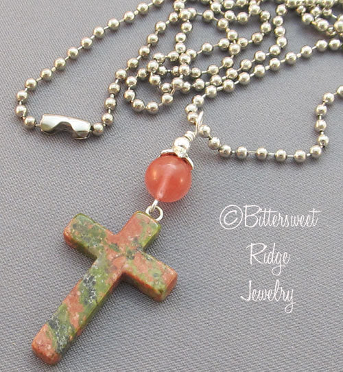 Reunion Cross Necklace Unisex Unakite Gemstone