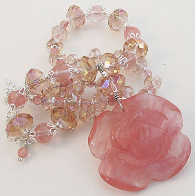 Cherry Pink Rose Necklace Crystal Jewelry