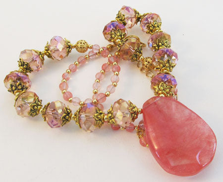 Chunky Cherry Pink Teardop Crystal Necklace