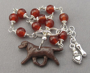 Chocolate Lab Dog Bracelet Silver Heart Bone Carnelian