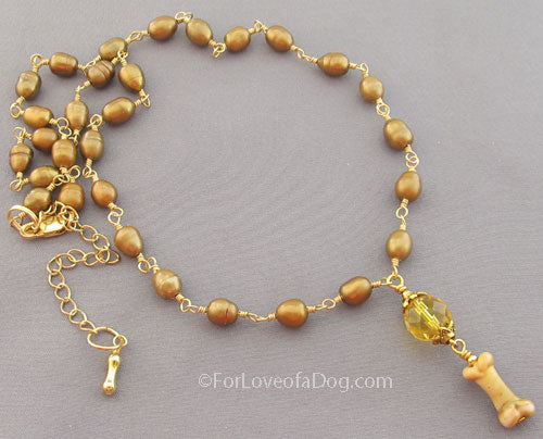 Dog Bone Necklace Citrine Freshwater Pearls on Gold