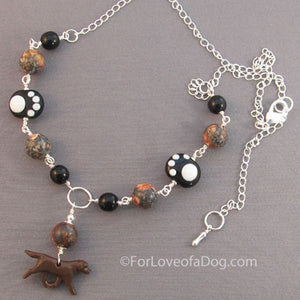 Chocolate Labrador Retriever Paw Prints Necklace
