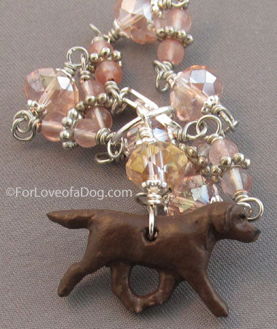 Chocolate Labrador Retriever Dog Bracelet Pink Crystals Silver