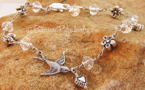 Silver Floral Flying Bird Bracelet Clear Crystals