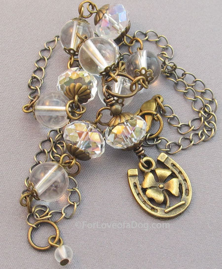 Lucky Horse Shoe Necklace Clear Quartz Crystals