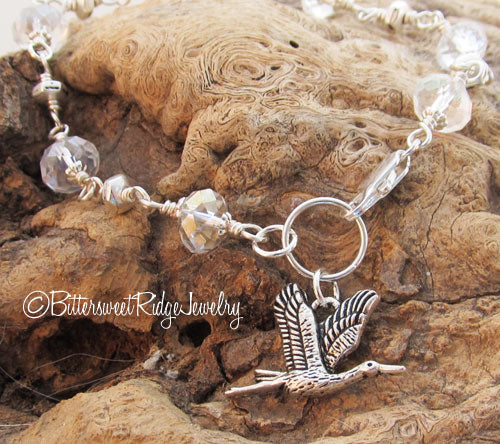 Silver Heron Bracelet Crystals Bird Watcher Jewelry
