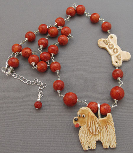 Dog Lover Necklace and Pin Woof Dog Bone Red Coral