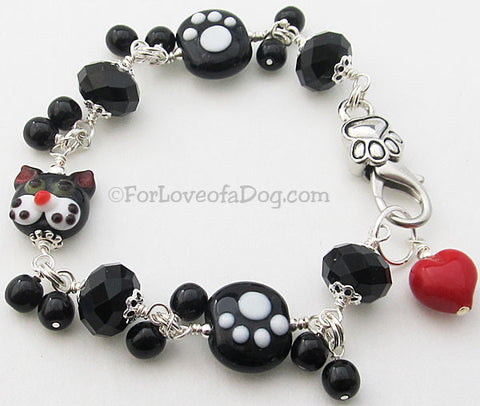 Purrfect Paw Print Cat Lover Bracelet