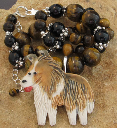 Collie or Sheltie Dog Necklace and Brooch