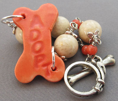 Dog Bone Bracelet Cream Orange Silver Dog Collar
