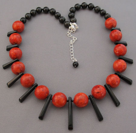 Chunky Bib Fan Necklace Red Coral Black Onyx Jewelry