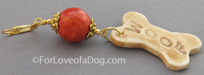 Woof Dog Bone Earrings Fat Red Coral on Gold