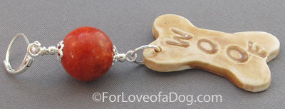 Chunky Dog Bone Earrings Woof Red Coral on Silver