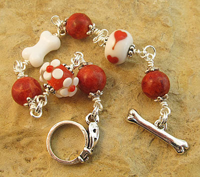 Dog Lover Bracelet Red Coral Lampwork Dog Bone
