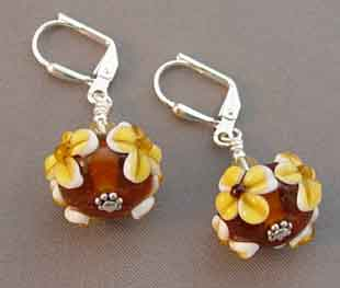 Artisan Lampwork Earrings Amber Daisy Silver Jewelry