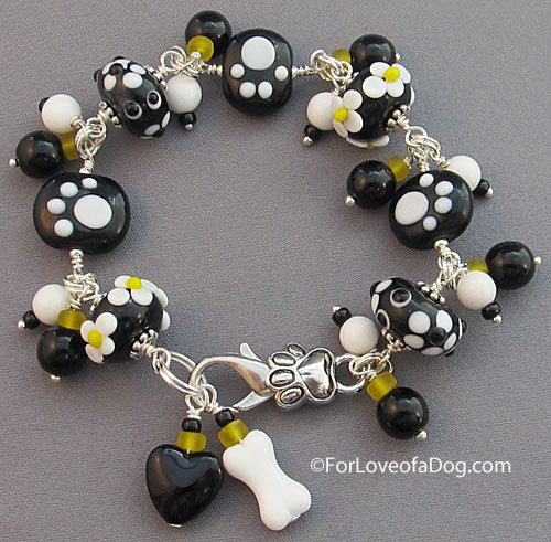 Daisy Paw Print Bracelet with Lampwork Dog Bone and Heart
