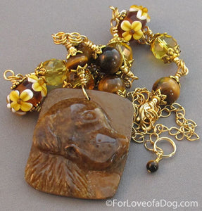 Dog Necklace Citrine Daisy Lampwork Tigerseye Carving