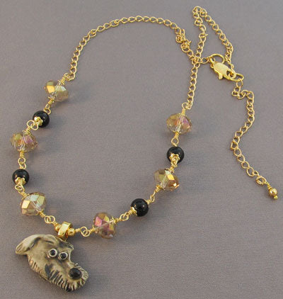 Scottish Deerhound Dog Necklace Gold Crystal Jewelry