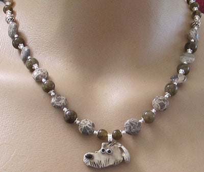 Scottish Deerhound Dog Lover Necklace Green Silver Handmade