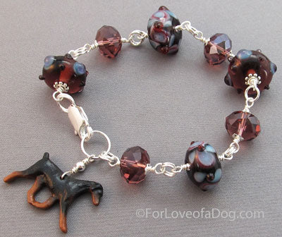 Dobie Natural Ear Dog Bracelet Crystals Lampwork
