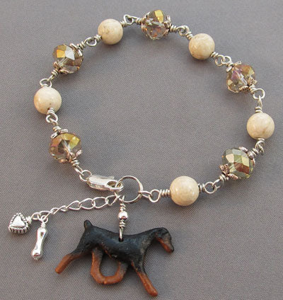 Doberman Natural Ear Dog Bracelet Crystal Silver Heart