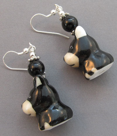 Min Pin Dobie Puppy Dog Earrings Handmade Jewelry