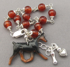 Doberman Pinscher Dog Bracelet Silver Heart Bone Carnelian