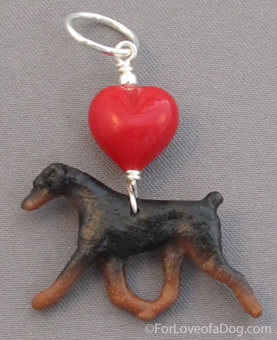 Doberman Dog Pendant Red Heart Silver Natural Ear