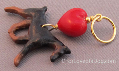 Doberman Pinscher Dog Pendant Red Lampwork Heart Gold