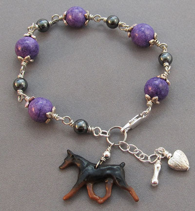 Doberman Pinscher Dog Bracelet Cropped Ear Purple