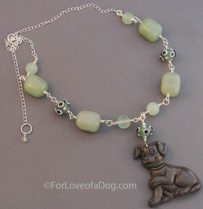 Dog Lover Necklace Chocolate Green Silver Chunky