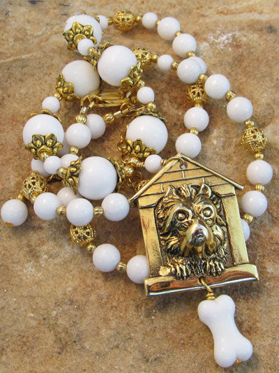 In the Dog House Gold Necklace Vintage Pendant