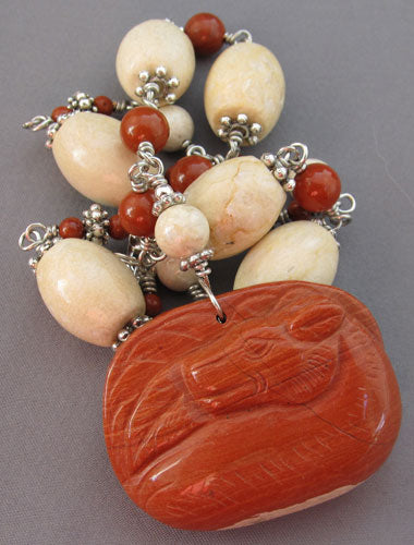 Dog Lover Jewelry Chunky Jasper Pendant Silver Necklace