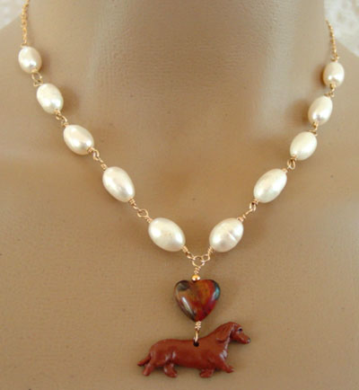 Dachshund Dog Jewelry Necklace Freshwater Pearls Gold Handcrafted Dog Breed Jewelry