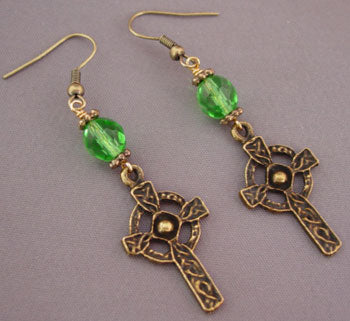 Celtic Cross Earrings Green Crystal Irish Jewelry