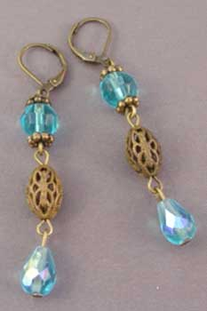 Aqua Crystal Earrings Vintage Style Jewelry