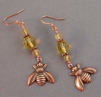 Honey Bee Earrings Yellow Crystal Copper Jewelry