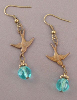 Turquoise Crystals Vintage Bird Earrings Romantic Jewelry