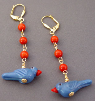 Bluebirds Red Hot Coral Bird Earrings Fun Jewelry