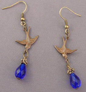 Cobalt Crystal Teardrop Flying Bird Earrings Vintage Jewelry