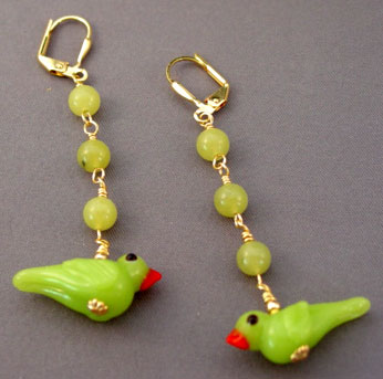 Peridot Jade Lampwork Bird Earrings Gold Jewelry