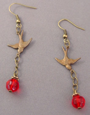 Ruby Red Crystals Swooping Bird Earrings Romantic Jewelry
