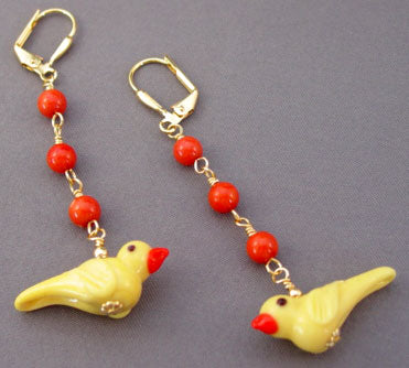 Tomato Red Coral Canary Yellow Bird Earrings Gold Jewelry