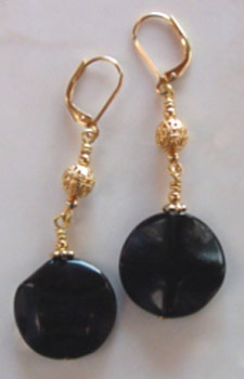 Big Black Onyx Ruffled Coin Earrings Gold Jewelry