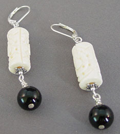 Carved Bone Earrings Classic Black and White