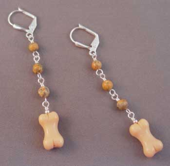 Picture Jasper Dog Bone Earrings