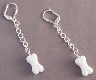 White Dog Bone Dangle Earrings