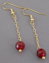Faceted Blood Red Carnelian Gold Earrings Gemstone Jewelry