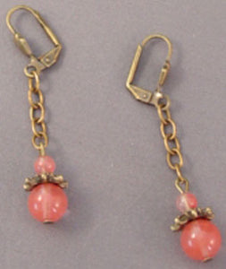 Victorian Brass Cherry Pink Earrings Romantic Jewelry