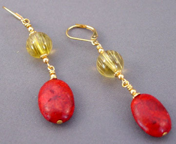 Tuscany Red Coral Yellow Citrine Gold Earrings